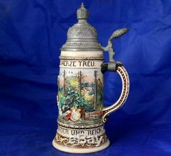 Antique German Patriotic Beer Stein Post and Telegraph by Marzi/Remy #26 c1900