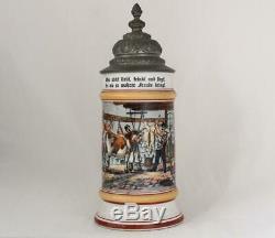 Antique German Porcelain Beer Stein Occupational Butcher withLithophane c. 1890