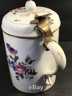 Antique German Porcelain Beer Stein/ Tankard/ Blue Cross Lines/ Germany C. 1900