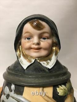 Antique German Porcelain Bisque Figural Character Beer Stein Munich Child Radish