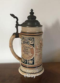 Antique German Pottery Beer Stein Mug Pewter Lid Monks Wine Grape Harvest 1 L