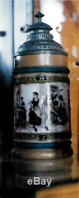 Antique German Pottery Beer Stein With Fancy Pewter Lid. Dancers. 9 tall