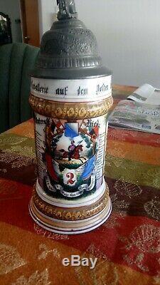 Antique German Regimental Lithopane Beer Stein