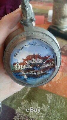 Antique German Regimental Lithopane Beer Stein With Prism LID