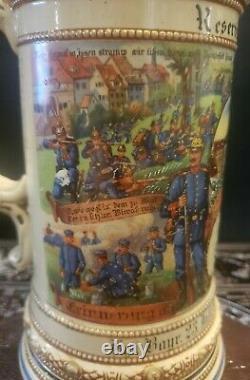 Antique German Regimental Military Beer Stein 1909-11