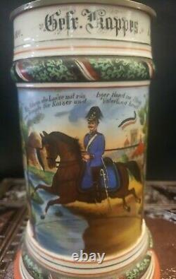 Antique German Regimental Military Beer Stein Porcelain Lithophane 1901-01