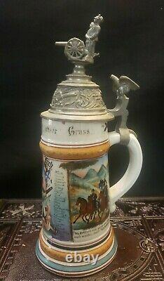 Antique German Regimental Military Beer Stein Porcelain Lithophane 1908