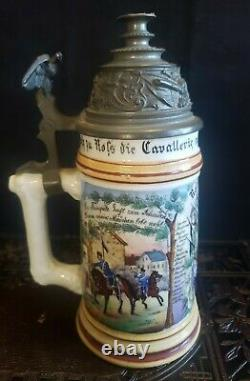 Antique German Regimental Military Beer Stein Porcelain Lithophane. 5L 1893-96