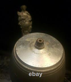 Antique German Regimental Military Beer Stein Porcelain Lithophane Artillery