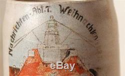Antique German Reichswehr Military Beer Stein Telegraph Battalion c. 1921