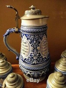 Antique German Salt Glaze Banquet Beer Stein Set, 3L Master & Six 1/4L Steins