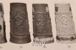 Antique German Stoneware Beer Stein Regensburg Cologne Dome Mettlach Mold c. 1880