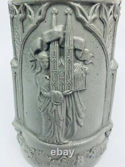 Antique German Stoneware Beer Stein with Interesting Lid & Thumblift Symbolism