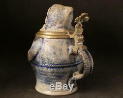 Antique German Stoneware Character Beer Stein Monk by S. P. Gerz c. 1880s