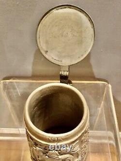 Antique German Stoneware Inlaid Top Beer Stein King Gambrinus Regensburg c. 1870s