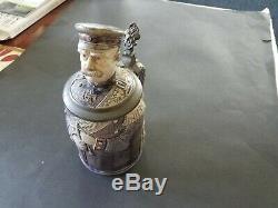 Antique German Stoneware Prince Bismark Dümler & Breiden #192 Beer Stein c. 1889