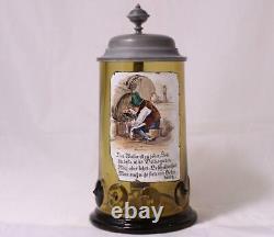 Antique German Theresienthal Enameled Green Glass Beer Stein withPrunts c. 1880s
