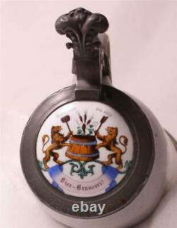 Antique German Westerwald Beer Stein Walzenkrug Occupational Brewer Lid 1870s