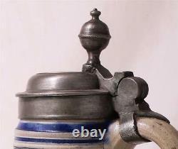 Antique German Westerwald Stoneware Etched/Incised Beer Stein Birnkrug c. 1790s
