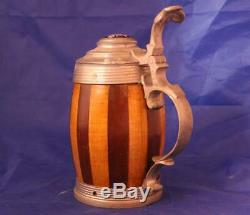 Antique German Wooden Beer Stein Barrel Type withPewter Mounts Inlaid Lid c. 1890s