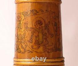 Antique German Wooden Tall Beer Stein/Server withPyrography Munich Child c. 1890s