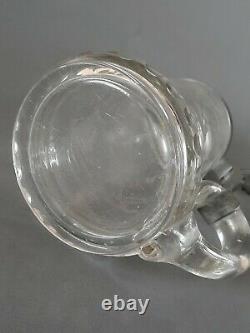 Antique German etched glass beer stein Bierkrug zinc lid, 7.75 inches