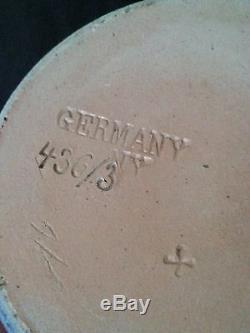 Antique German stoneware cobalt blue salt glazed beer stein bierkrug 0.25 L