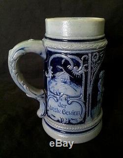 Antique German stoneware cobalt blue salt glazed beer stein bierkrug 0.5 L