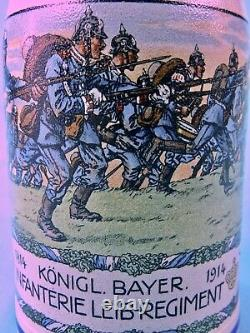 Antique Germany German WW1 1914 Infanterie Regiment Ceramic Lidded Beer Stein