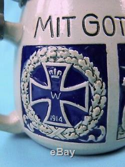 Antique Germany German WW1 Hindenburg Ceramic Lidded Beer Stein Mug