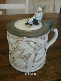 Antique Germany German beer stein 1860 Antique Porcelain from 1860 Era