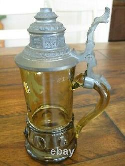 Antique Germany German beer stein Mouth Blown quality pewter glass Munich early