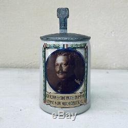 Antique Germany WW1 1914 German Ceramic Lidded Beer Stein Mug