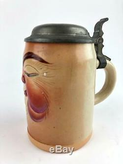 Antique Gerz Face Character German Beer Stein. 5 L, 1226, Rare, Great Condition