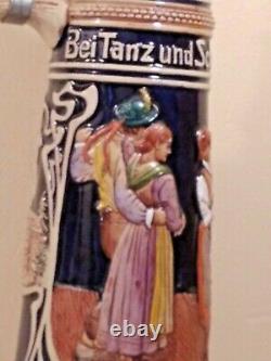 Antique Gerzit GERZ German Beer Stein Extra Large 4 L internal defect