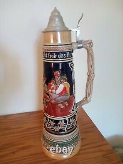 Antique Gerzit GERZ German Beer Stein Extra Large 4 Liter with lid 21