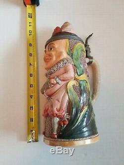 Antique Gesetzlich Geschutzt German Beer Stein figural character RARE