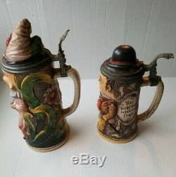 Antique Gesetzlich Geschutzt German Beer Steins lot of 2 figural character RARE