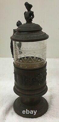 Antique Glass and Plated Marked April 1892 German Beer Stein Tankard