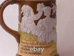 Antique HR Hauber & Reuther German Beer Stein #452 Relief Festive Scene c. 1900