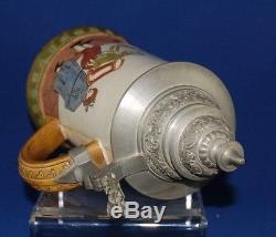 Antique HR Hauber & Reuther Lidded Beer Stein #404 Early Germans