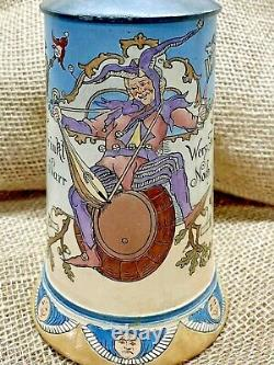 Antique Hauber & Reuther German Beer Stein 436 Drunken Jester on Barrel Griffin