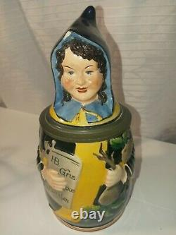 Antique Hb German Character Beer Stein Munich Child Monk Hofb 0.5l. Ships Free