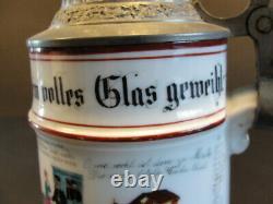 Antique Imperial German Prussian Reservist Lidded Beer Stein Named