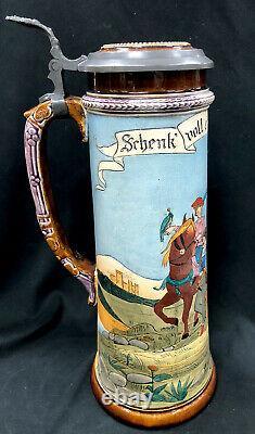 Antique J P Thewalt German Beer Stein 1224 Renaissance Hunters 1 1/2 L