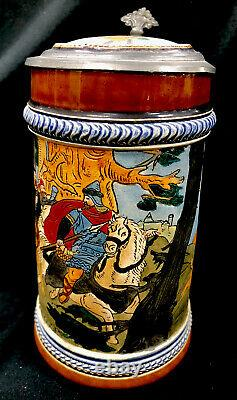 Antique J W Remy German Beer Stein 1337.5L Charles The Great Hunting Dogs