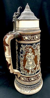 Antique J W Remy German Beer Stein 3L Rococo Dancers With Saying No 543