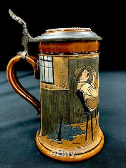Antique J W Remy German Beer Stein. 5 Liter Titled A Cheerful Song 730