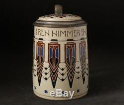 Antique Jugendstil German Beer Stein Marzi/Remy by Karl Goerig #1775 c. 1910s