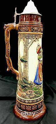 Antique King Werk German Beer Stein Hand Painted Ex Large 5 L Alpine Dance